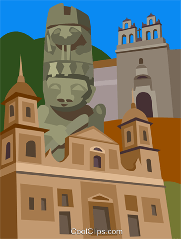 Columbia, St. Augustine's Statues Royalty Free Vector Clip Art illustration vc009482