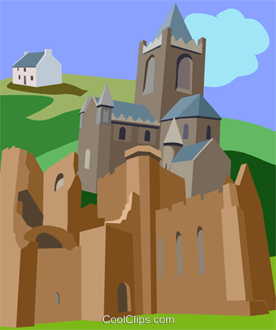 Medieval Dublin Cathedral, Ireland Royalty Free Vector Clip Art illustration vc009496