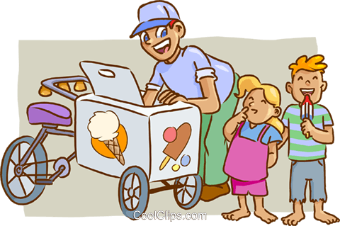 ice cream man Royalty Free Vector Clip Art illustration vc009534