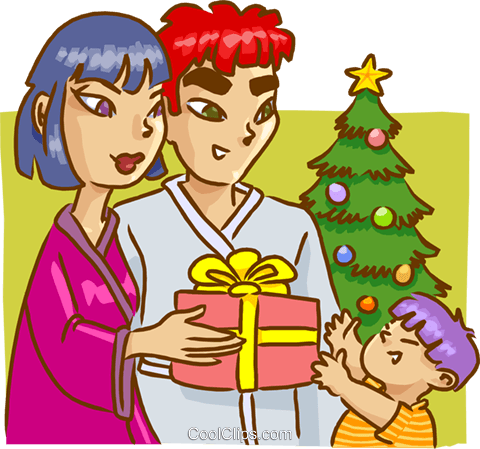 Family on Christmas morning Royalty Free Vector Clip Art illustration vc009538