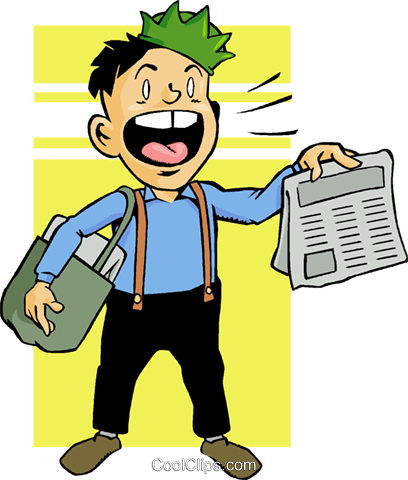newspaper boy Royalty Free Vector Clip Art illustration vc009547