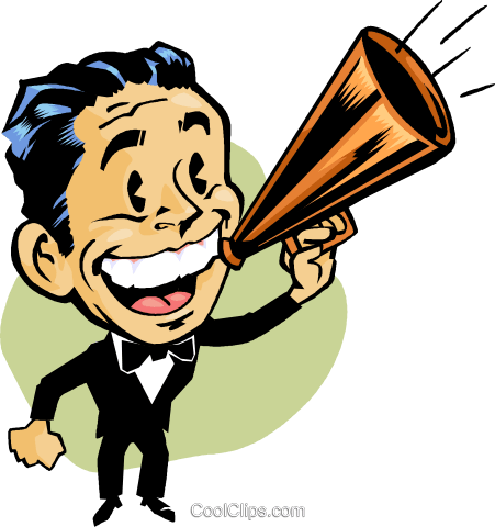 man making announcements royalty free vector clip art illustration rh search coolclips com announcements clipart images announcements clipart