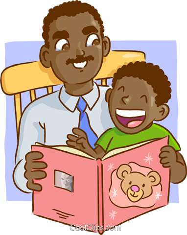 Father and son reading a book Royalty Free Vector Clip Art illustration vc009557