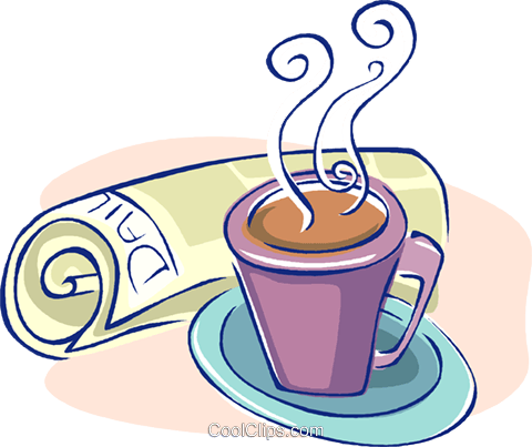 morning coffee with today's newspaper Royalty Free Vector Clip Art illustration vc009565