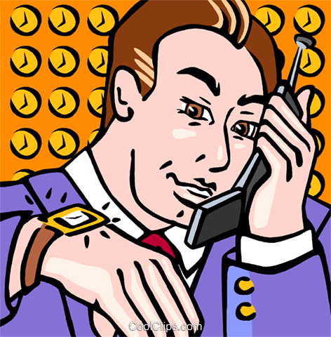 man with a cellular phone Royalty Free Vector Clip Art illustration vc009622