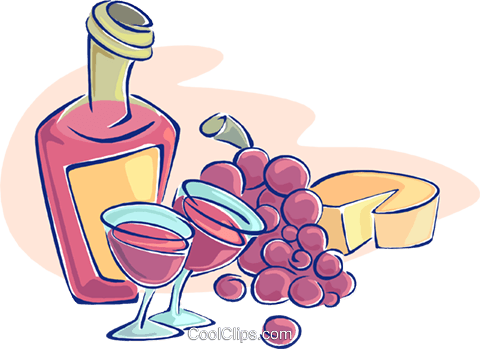 wine with grapes and cheese Royalty Free Vector Clip Art illustration vc009624