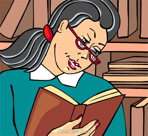 librarian with a book Royalty Free Vector Clip Art illustration vc009656