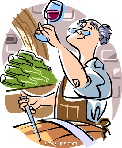 man making wine Royalty Free Vector Clip Art illustration vc009669