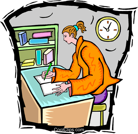 doing homework Royalty Free Vector Clip Art illustration vc009732