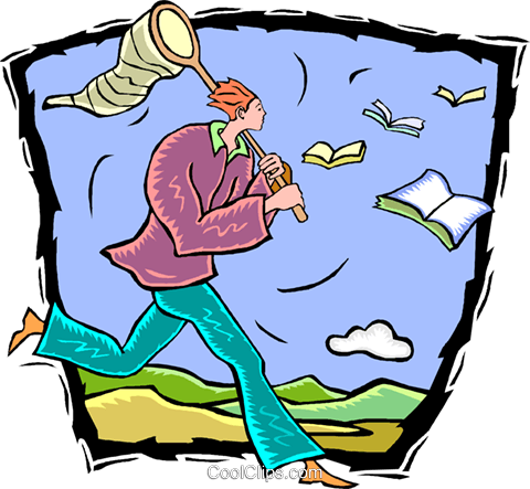 man with a butterfly net chasing stories Royalty Free Vector Clip Art illustration vc009746