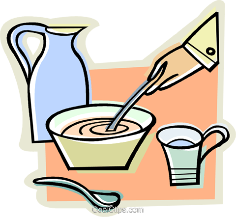 bowl of soup, water jug Royalty Free Vector Clip Art illustration vc009882