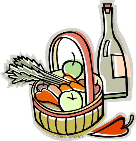 basket of fruit and vegetables Royalty Free Vector Clip Art illustration vc009884