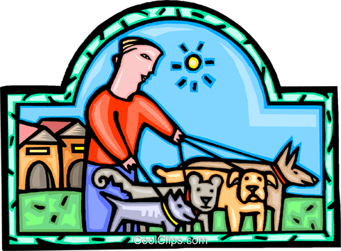 walking the dog Royalty Free Vector Clip Art illustration vc009905