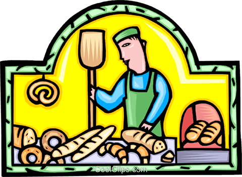 Baker with bread Royalty Free Vector Clip Art illustration vc009921