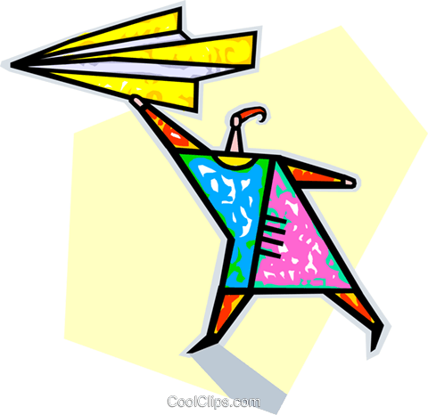 paper airplane Royalty Free Vector Clip Art illustration vc009931