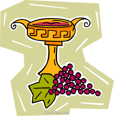 grapes with cup Royalty Free Vector Clip Art illustration vc009949