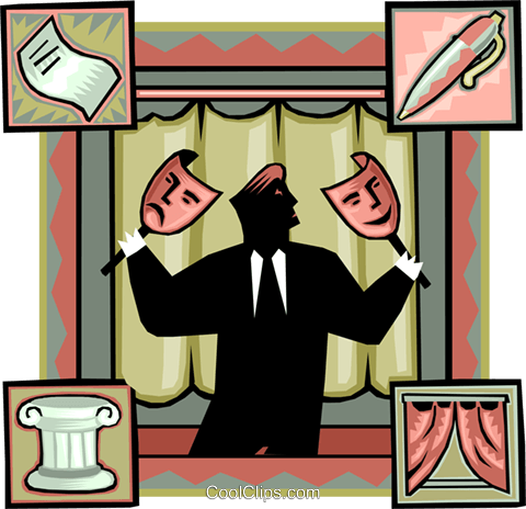 man with theatre masks Royalty Free Vector Clip Art illustration vc010029