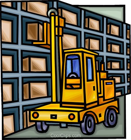 forklift in a warehouse Royalty Free Vector Clip Art ...