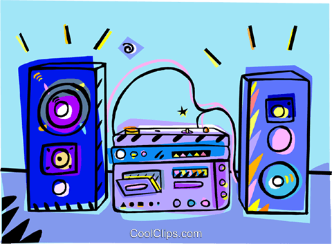 stereo system, home audio Royalty Free Vector Clip Art illustration vc010056