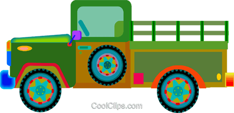 Pickup truck Royalty Free Vector Clip Art illustration vc010069