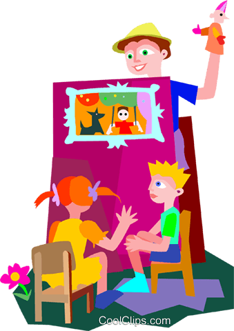 man performing puppet show Royalty Free Vector Clip Art illustration vc010118