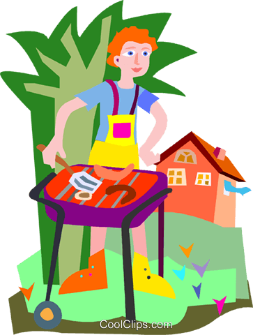 man having a bbq royalty free vector clip art illustration vc010119