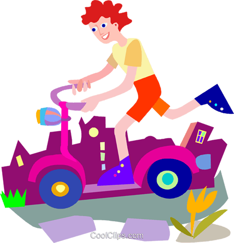 Child playing on scooter Royalty Free Vector Clip Art illustration vc010128