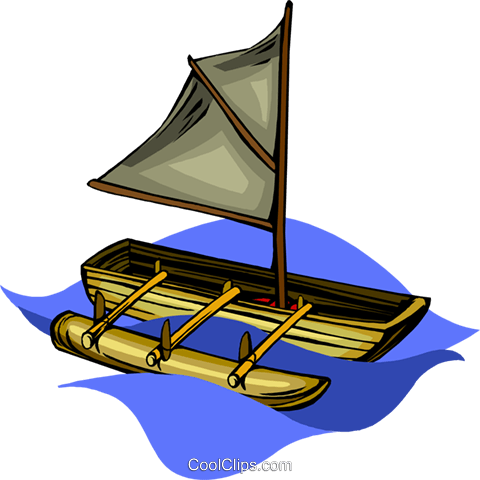canoe with sail and outrigger Royalty Free Vector Clip Art illustration vc010146