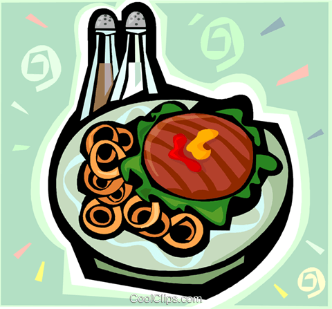 Hamburger and onion rings Royalty Free Vector Clip Art illustration vc010149