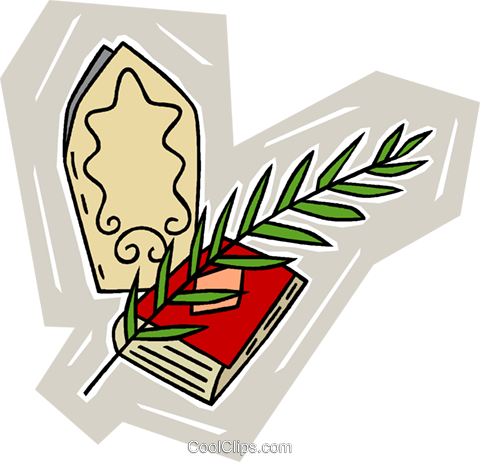 Bible with palm branch and miter Royalty Free Vector Clip Art illustration vc010293