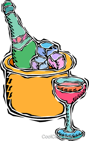 ice bucket with champagne Royalty Free Vector Clip Art illustration vc010344