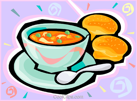 Bowl of soup and buns Royalty Free Vector Clip Art illustration vc010394