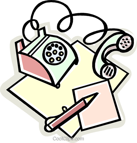 电话与垫和铅笔 免版税矢量剪贴画插图