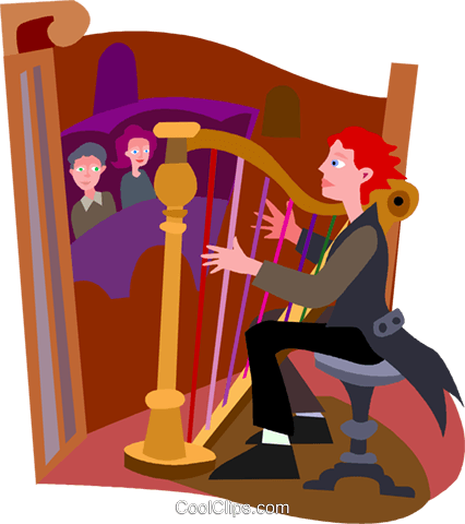 harp player Royalty Free Vector Clip Art illustration vc010463