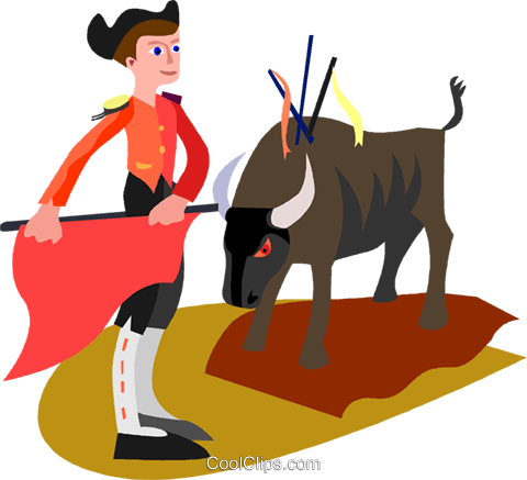 bull fighter Royalty Free Vector Clip Art illustration vc010464