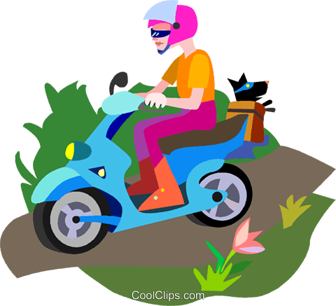 scooter, motorcycle Royalty Free Vector Clip Art illustration vc010466