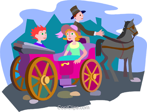 horse and carriage Royalty Free Vector Clip Art illustration vc010471