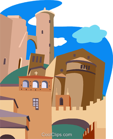 Palma de Mallorca's Bellver Castle Royalty Free Vector Clip Art illustration vc010481