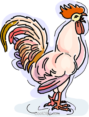 Rooster crowing Royalty Free Vector Clip Art illustration vc010518