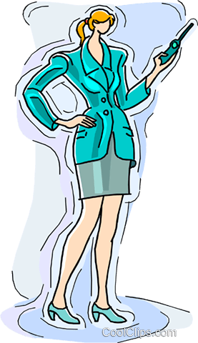 businesswoman talking on the phone Royalty Free Vector Clip Art illustration vc010523