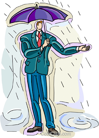 man standing in the rain Royalty Free Vector Clip Art illustration vc010526