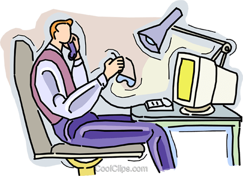 working at computer talking on the phone Royalty Free Vector Clip Art illustration vc010532