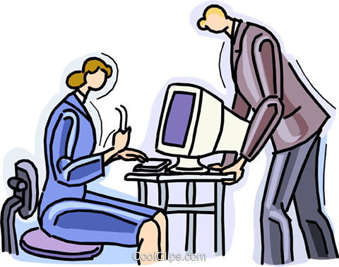 woman at computer, man talking to her Royalty Free Vector Clip Art illustration vc010533