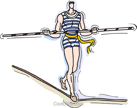 high wire act Royalty Free Vector Clip Art illustration vc010534