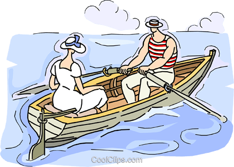 couple in row boat Royalty Free Vector Clip Art illustration vc010535