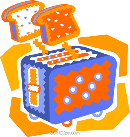 toaster with toast popping up Royalty Free Vector Clip Art illustration vc010551