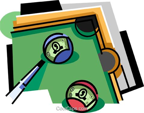 Pool table with balls and cue Royalty Free Vector Clip Art illustration vc010568