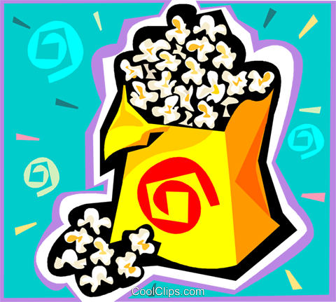 Bag of popcorn Royalty Free Vector Clip Art illustration vc010594