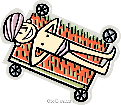 man laying on a bed of nails Royalty Free Vector Clip Art illustration vc010598