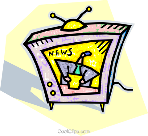 television news broadcast Royalty Free Vector Clip Art illustration vc010610
